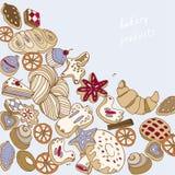Het bakken op een blauwe vectorillustratie als achtergrond De koekjes naadloos patroon van Kerstmis vector illustratie