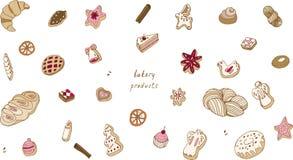 Het bakken op een witte vectorillustratie als achtergrond De koekjes naadloos patroon van Kerstmis vector illustratie