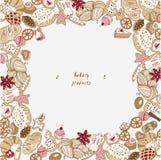 Het bakken op een witte vectorillustratie als achtergrond De koekjes naadloos patroon van Kerstmis stock illustratie