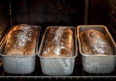 Het bakken van breadin de oven royalty-vrije stock afbeelding