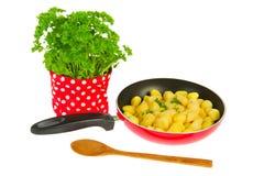 Het bakken van nieuwe aardappels met peterselie Royalty-vrije Stock Afbeelding