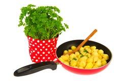 Het bakken van nieuwe aardappels met peterselie Stock Fotografie