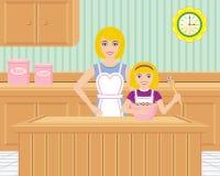 Het Baksel van de moeder en van de Dochter in de Keuken Stock Afbeelding