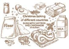 Het baksel van Kerstmis ingrediënten Broodjes met saffraan en kardemom Swe stock afbeeldingen