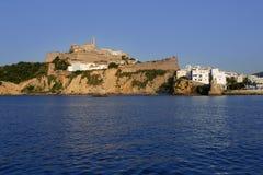 Het Baleaarse Mediterrane witte eiland van Ibiza in Spanje Stock Foto's