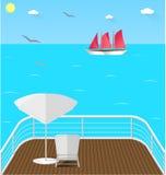 Het balkon overzeese van het cruisedek mening Royalty-vrije Stock Afbeeldingen