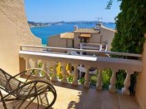 Het Balkon van de flat in Mallorca, Spanje Stock Foto's