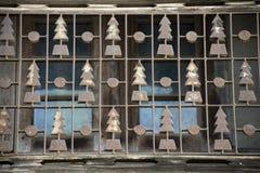Het balkon van de kerstbomenvorm Stock Afbeeldingen