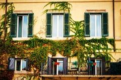 Het balkonshoogtepunt van bloemen verfraait huizen in Rome, Italië Stock Afbeeldingen