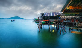 Het bamboehut van de vissersmens Stock Afbeelding