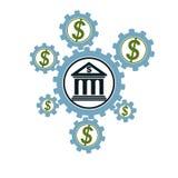 Het bank en Financiën conceptueel embleem, uniek symbool Bankwezensysteem Het Globale Financiële Systeem Omloop van geld vector illustratie