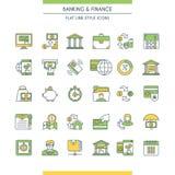 Het bank en financiën geplaatste pictogrammen stock illustratie
