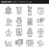 Het bank en Financiën Lineaire Geplaatste Pictogrammen Royalty-vrije Stock Foto's