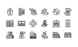 Het bank en Financiënpictogrammen vector illustratie