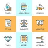 Het bank en financierings geplaatste lijnpictogrammen Royalty-vrije Stock Afbeelding