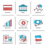 Het bank en financiën geplaatste lijnpictogrammen Stock Afbeelding