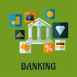 Het bank vlak infographic ontwerp Stock Afbeeldingen