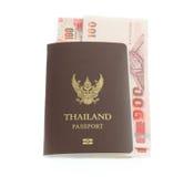 Het bankbiljet en het paspoort van Thailand Royalty-vrije Stock Foto's