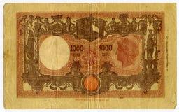 Het bankbiljet van 1000 Lire Royalty-vrije Stock Afbeeldingen