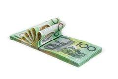 Het bankbiljet van Australië op witte achtergrond Stock Foto's