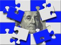 Het bankbiljet van de dollar onder het missen pieses van raadsel vector illustratie