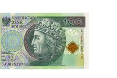 Het bankbiljet van 100 poetst zloty op witte achtergrond op Stock Foto's