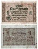 1 het bankbiljet van Reichsmark 1938-1945 Stock Foto
