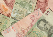 Het bankbiljetachtergrond van Thailand Stock Afbeelding