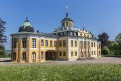 Het Barokke die Belvedere kasteel voor huis-partijen in Weimar, Thuringia wordt gebouwd stock fotografie