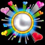 Het barstende frame van de liefdevalentijnskaart Stock Afbeeldingen