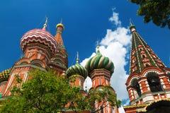 Het Basilicumkathedraal van heilige op het Rode Vierkant in Moskou, Rusland Royalty-vrije Stock Fotografie