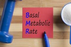 Het Basis metabolische die tarief van BMR op nota wordt geschreven stock afbeeldingen