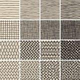 Het basiskrabbel Naadloze Patroon plaatste Nr 1 in zwart-wit Royalty-vrije Stock Afbeeldingen
