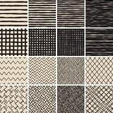Het basiskrabbel Naadloze Patroon plaatste Nr 2 in zwart-wit Royalty-vrije Stock Foto