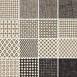 Het basiskrabbel Naadloze Patroon plaatste Nr 7 in zwart-wit Royalty-vrije Stock Foto's