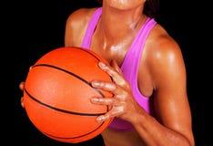 Het basketbal van de zwarteholding Stock Afbeelding