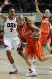 Het basketbal van vrouwen. UGMK versus de V.S. Stock Foto's