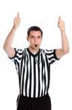 Het basketbalscheidsrechter die van de tiener het teken van de Bal van de Sprong geeft Stock Foto