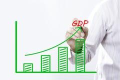 Het BBP-tekst met hand van jonge zakenman Stock Afbeeldingen