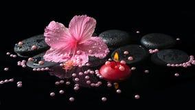 Het Beautiful spa plaatsen van gevoelige roze hibiscus, rode kaarsen Stock Fotografie