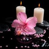 Het Beautiful spa plaatsen van roze hibiscus, kaarsen, zen stenen Stock Foto