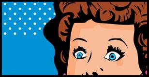 Het bebouwde grappige pop-art van het vrouwengezicht Royalty-vrije Stock Afbeeldingen