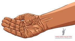 Het bedelen van hand, het Afrikaanse behoren tot een bepaald ras, gedetailleerde vectorillustratie Stock Afbeeldingen