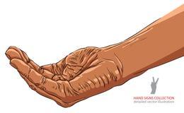 Het bedelen van hand, het Afrikaanse behoren tot een bepaald ras, gedetailleerde vectorillustratie Royalty-vrije Stock Foto's