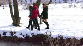 Het bedrijf loopt door de rivier in de winter het bewonderen van de aard stock videobeelden