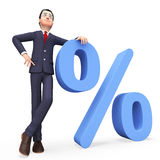 Het Bedrijfkorting en Beroeps van zakenmanwith percent means Stock Foto's