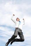 Het bedrijfs mens springen stock foto