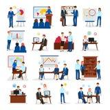 Het bedrijfs Opleiding Raadplegen Vlakke Geplaatste Pictogrammen Stock Afbeelding