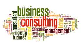 Het bedrijfs raadplegen in de wolk van de woordmarkering Stock Fotografie
