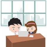 Het bedrijfs trainen en leidt de trainer in bureau, vectorillustratie in vlak ontwerp op Royalty-vrije Stock Afbeeldingen